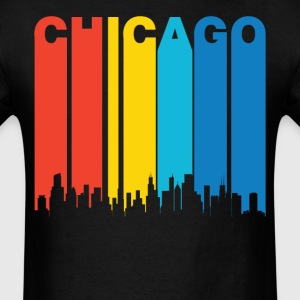 Retro Chicago Illinois Skyline T-Shirt - Men's T-Shirt