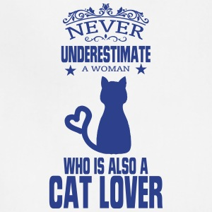 NEVER UNDERESTIMATE A WOMAN WHO IS A CAT LOVER! Aprons - Adjustable Apron