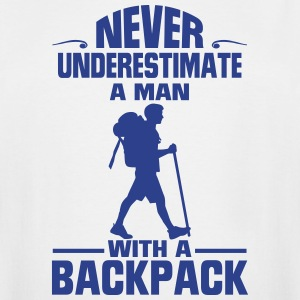 NEVER UNDERESTIMATE THE A MAN WITH A BACKPACK! T-Shirts - Men's Tall T-Shirt