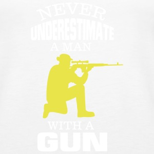 NEVER UNDERESTIMATE A MAN WITH A GUN! Tanks - Women's Premium Tank Top