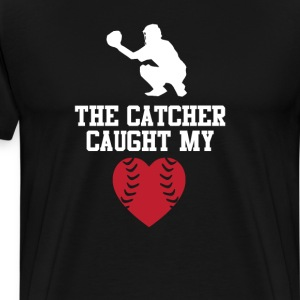 The Catcher Caught My Heart Graphic Baseball Tee T-Shirts - Men's Premium T-Shirt