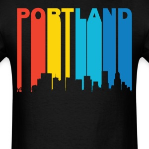 Retro Portland Oregon Skyline T-Shirt - Men's T-Shirt