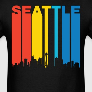 Retro Seattle Washington Skyline T-Shirt - Men's T-Shirt