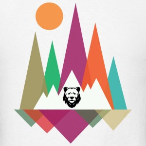 Hipster Mountains & Bear T-Shirts - Men's T-Shirt