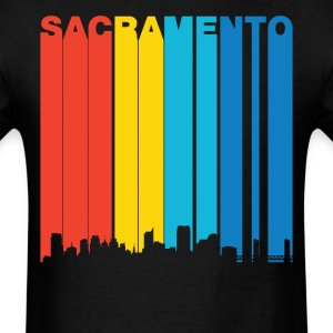 Retro 1970s Sacramento California Skyline T-Shirt - Men's T-Shirt