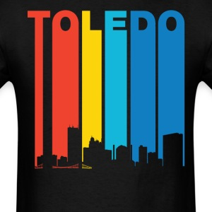 Retro 1970's Toledo Ohio Skyline T-Shirt - Men's T-Shirt