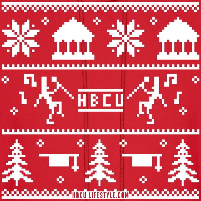 HBCU Ugly Christmas Sweater - Men's Red and White Hoodie