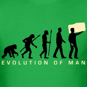 evolution_of_man_furniture_mover_c_2c T-Shirts - Men's T-Shirt