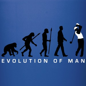 evolution_of_man_golf_player_c_2c Mugs & Drinkware - Full Color Mug
