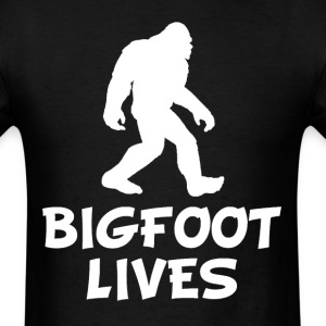 Bigfoot Lives Funny Sasquatch Silhouette T-Shirt - Men's T-Shirt