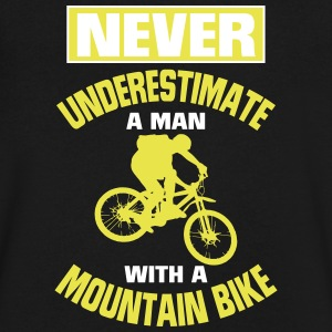 NEVER UNDERESTIMATE A MAN WITH A MOUNTAIN BIKE! T-Shirts - Men's V-Neck T-Shirt by Canvas