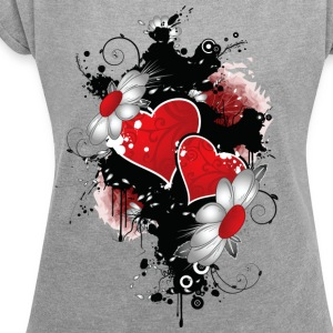 flowers and heart - Women´s Rolled Sleeve Boxy T-Shirt