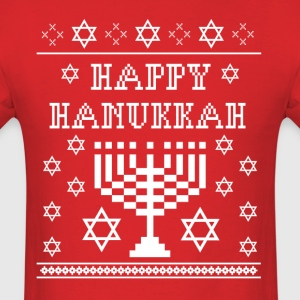 Happy Hanukkah Ugly Sweater Styled T-Shirt Hanukki T-Shirts - Men's T-Shirt