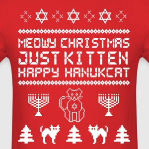 Meowy Christmas Just Kitten Happy Hanukkah Jewish  T-Shirts - Men's T-Shirt