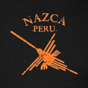 Nazca Lines Peru Hummingbird With Curved Text - Men's T-Shirt