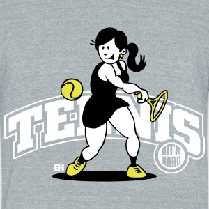Tennis, Hit'm hard T-Shirts - Unisex Tri-Blend T-Shirt by American Apparel