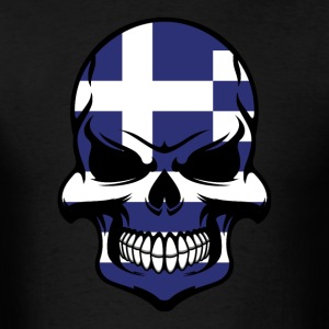 Greek Flag Skull Cool Greece Skull - Men's T-Shirt
