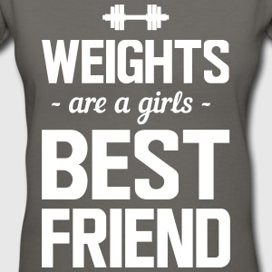 Weights are a girls best friend T-Shirts - Women's V-Neck T-Shirt