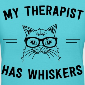 My therapist has whiskers T-Shirts - Women's V-Neck T-Shirt
