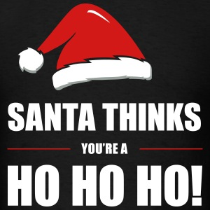 Funny Christmas Design Santa Thinks - Men's T-Shirt