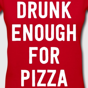 Drunk enough for pizza T-Shirts - Women's V-Neck T-Shirt