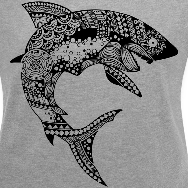 Tribal Shark Women´s Rolled Sleeve Boxy T-Shirt from South Seas Tees