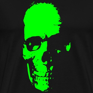 Old Skull Neon Green on Black - Men's Premium T-Shirt