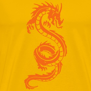 Tribal Dragon Orange on Yellow - Men's Premium T-Shirt