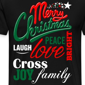 Merry Christmas Laugh Peace Love Bright Joy Cross  T-Shirts - Men's Premium T-Shirt