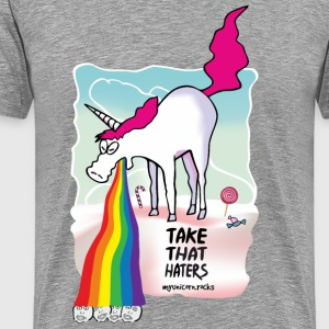 Unicorn vomiting rainbow T-Shirts - Men's Premium T-Shirt