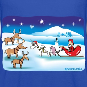 Christmas Unicorn - Reindeer and Santa Tanks - Women's Flowy Tank Top by Bella