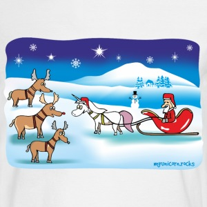 Christmas Unicorn - Reindeer and Santa Long Sleeve Shirts - Men's Long Sleeve T-Shirt