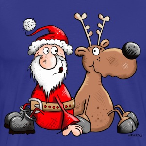 Happy Reindeer with Santa Claus T-Shirts - Men's Premium T-Shirt