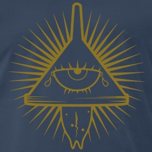 Illuminati Insane Logo Gold Glitz on Navy T-shirt - Men's Premium T-Shirt