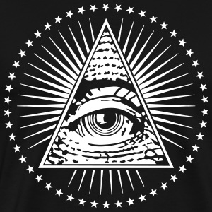 Eye Of Providence Illuminati Flock Print White - Men's Premium T-Shirt