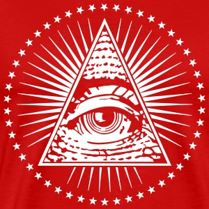 Eye Of Providence Illuminati White on Red T-shirt - Men's Premium T-Shirt