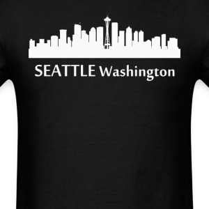 Seattle Washington Downtown Skyline Silhouette - Men's T-Shirt