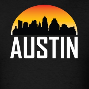 Sunset Skyline Silhouette of Austin TX - Men's T-Shirt