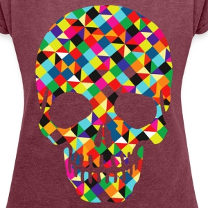 colored skull - Women´s Rolled Sleeve Boxy T-Shirt