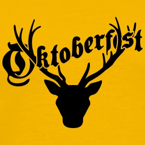 Antlers horns oktoberfest text writing shirt cool  T-Shirts - Men's Premium T-Shirt