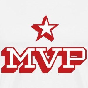 MVP Red and White Flock Print on White T-shirt - Men's Premium T-Shirt