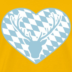 Heart love symbol flag bavarian antler horns oktob T-Shirts - Men's Premium T-Shirt