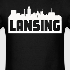 Lansing Michigan Skyline Silhouette - Men's T-Shirt