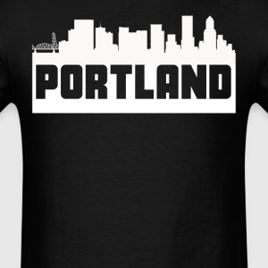 Portland Oregon Skyline Silhouette - Men's T-Shirt