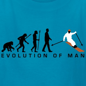 evolution_of_man_skiing_c_3c Kids' Shirts - Kids' T-Shirt