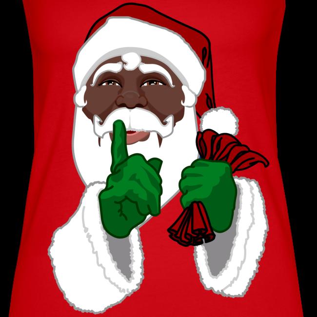 African Santa Clause Tops Women's Black Santa Tank Top
