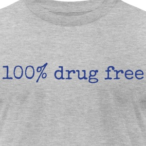 100% Drug Free mens gray tshirt - Men's T-Shirt by American Apparel