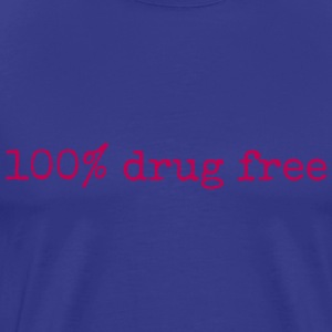 100% Drug Free mens blue tshirt - Men's Premium T-Shirt