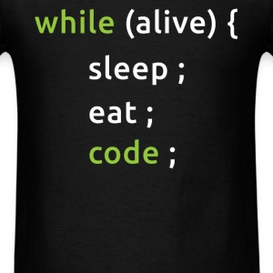 While Alive, Eat, Sleep, Code - Men's T-Shirt