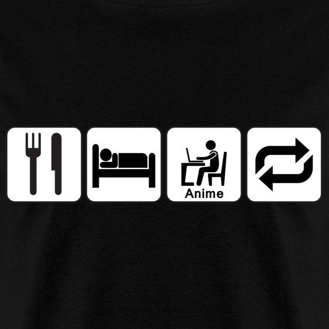 Eat, Sleep, Anime, Repeat Horizontal T-Shirt (Mens)